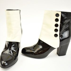 "CHANEL Black/White Leather Button ""CC"" Short Boots"